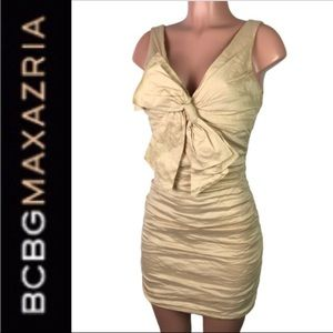 BCBGMaxazria Champagne Ruched Bow Cocktail dress 6